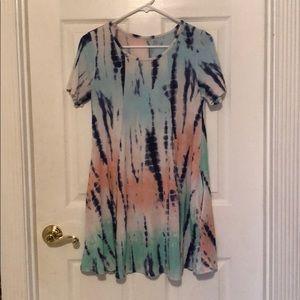 Tie dye mini dress with pockets, size medium